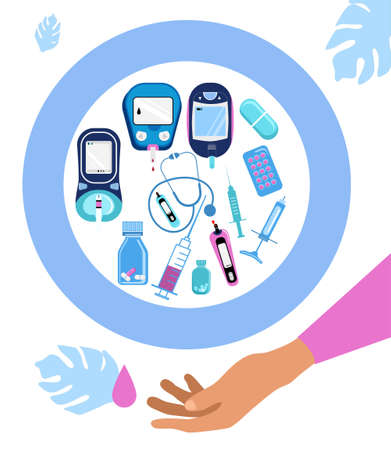 World diabetes day banner.Hand holds medical instruments. Blood Sugar,glucose Test.Pills,Electrochemical or Photometric glucometers,syringes.Disruption of the endocrine pancreas.Vector in flat style