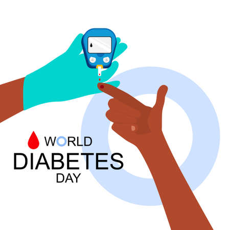 World diabetes day illustrations.Hands are making Blood Sugar or glucose Test.Determination of glycated hemoglobin.Electrochemical or Photometric glucometer.Disruption of the endocrine pancreas.