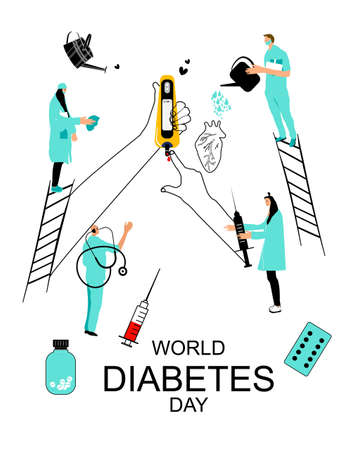 People in medical clothes protecting human heart and hands which are making blood Sugar or glucose Test.Disruption of the endocrine pancreas.World diabetes day.Electrochemical,Photometric glucometers.