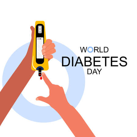 World diabetes day.Hand is holding electrochemical or Photometric glucometer.Finger is pricked,ready for a glucose or Blood Sugar Test.Determination of glycated hemoglobin.Endocrine pancreas disorder