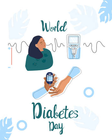 World diabetes day line art vector illustration.Young sick girl is making Blood Sugar or glucose Test using medical device.Electrochemical or Photometric glucometer.Equal rights for disability persons