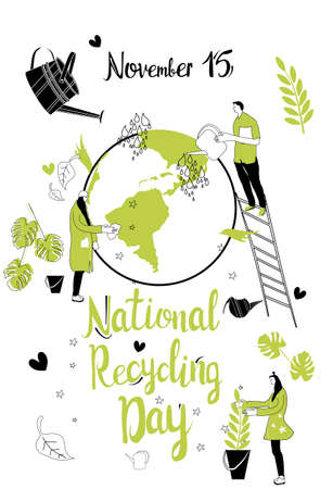 National Recycling day concept.People protect Earth by planting tree and washing Planet.Hand drawn vector illustration with green plant and watering can around world.Safe nature,ecology.Greeting card