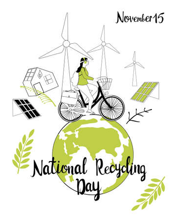 National Recycling day concept.Girl travelling on bicycle around green Earth.Safe our planet,nature and enviroment protection greeting card or design poster.Solar and wind energy in city.Plastic free