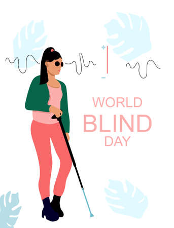 World blind day illustration.Young sightless woman with black glasses and cane.People with disabilities.Ableism,equal rights and opportunities.Eyeless disorder.Save your vision.Trendy girl is walking 矢量图像