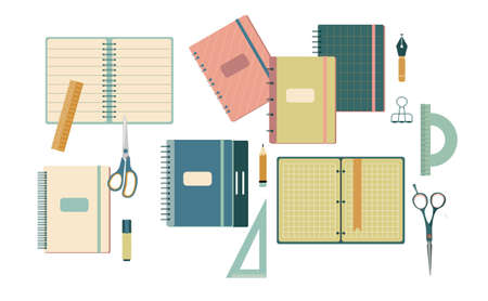 Stationery set in flat style.Back to school concept with different size diary,open and closed notebook,exercise book,scratchpad.Colorful vector scissors,pencils,ruler, protractor,angle.Student tools