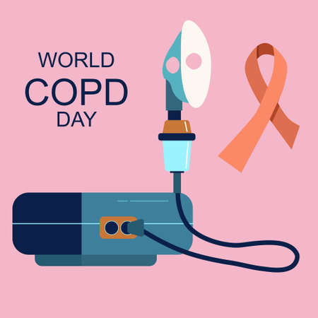 World COPD day.Chronic obstructive pulmonary disease concept.Nebulizer or inhaler against a Bronchial asthma or pneumonia.Lungs illness in trendy colors.Breathing problems and medical treatment.Vector