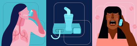 World COPD awareness month illustrations set.Chronic obstructive pulmonary disease concept.Nebulizer in flat style.Asthmatic girl breathes with an inhaler.Lungs illness.Woman takes medical capsule