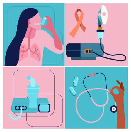 World COPD awareness month illustrations set.Chronic obstructive pulmonary disease concept.International Pneumonia day.Asthmatic girl breathes with an inhaler.Different nebulizers for all ages.Vector