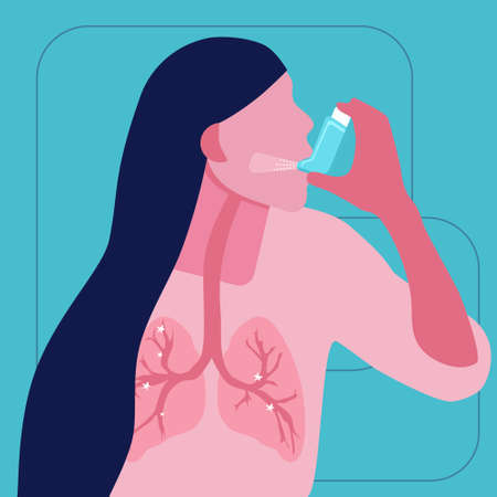 World COPD day.Chronic obstructive pulmonary disease concept.Asthmatic girl breathes with an inhaler.Lungs illness in trendy colors.Woman uses nebulizer against an allergic attack.Bronchial asthma.