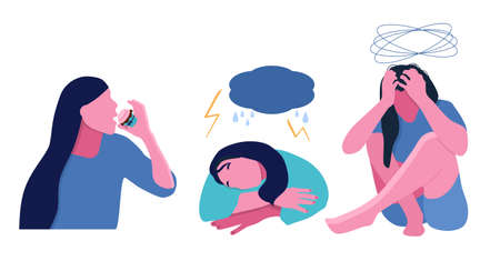 Seasonal affective disorder.Girls with Depressive symptoms.Sleeping too much,having no energy,dizziness,overeating.Weather dependence concept.Feeling bad at the same time each year.Online psychology 矢量图像