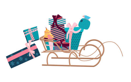 Wooden sleigh full of Gift boxes,convolutions in wrapping paper different forms and size.Presents are falling,crumbling from sled.Christmas,New year Rag bag,packaging with ribbons and bows.Winter Sale