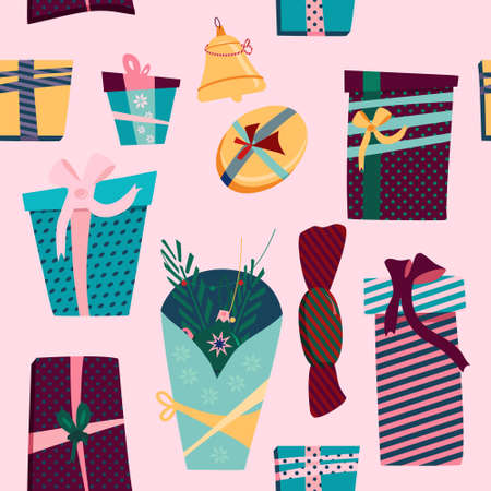 Gift boxes seamless pattern.Convolutions in festive paper different forms,size.Christmas,New year presents with ribbons and bows.Holiday decoration.Rag bags and packaging for Birthday congratulation