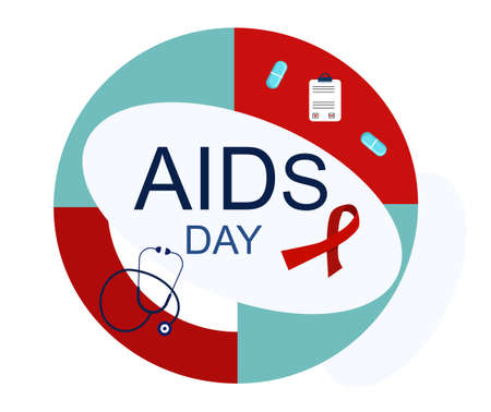 World AiDs day 1 December infographics. HIV tests for blood,medical equipment and pills.Immunodeficiency virus prevention and diagnostic vector concept.Awareness ribbon symbol.Disease transmission. 矢量图像