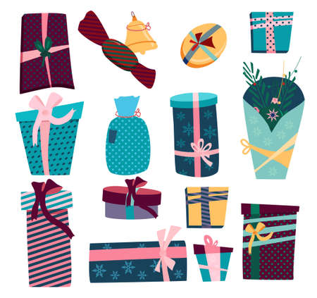 Gift boxes set different forms, size,convolutions in festive paper.Christmas,New year presents with ribbons and bows.Various patterns for decoration.Rag bags and packaging for Birthday congratulations 矢量图像