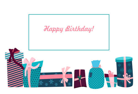 Happy Birthday postcard with text in frame.Gift boxes,convolutions in festive wrapping paper different forms,size.Holiday presents with ribbons and bows.Rag bag and packagings in pink turquoise colors