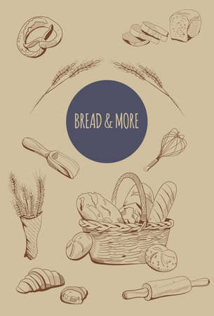Bakery menu decoration in engraving style. Ears of wheat and a wicker basket with buns, french loaves, baguette. Equipment for Bread cooking. Farmers market.
