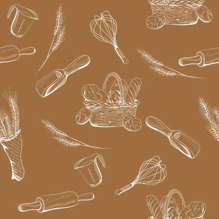 Bread and bakery seamless pattern in engraving style. Ears of wheat and a wicker basket with buns, french loaves, baguette. Equipment for cooking.