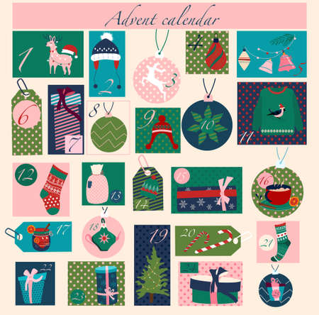 Christmas Advent calendar with elements in flat style.Winter holiday symbols for card,kid room decor, nursery art.Gift boxes,xmas tree toys,warm clothes.Catholic tradition.Vector in pastel colors