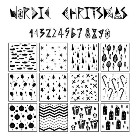 12 monochrome simple patterns in scandinavian style.Lettering for nordic christmas.Printing wrapping paper.Minimalistic design for card,wallpaper,interior decor.Winter symbols isolated on white.Vector