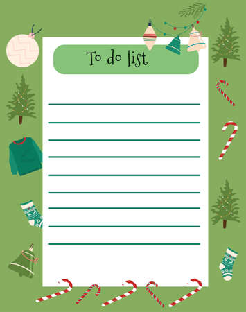 Wish or to do list.Weekly timetable, daily planner or personal schedule in flat style with Christmas symbols.Winter holidays or New year preparing.Colorful candy canes,coniferous trees and toys around