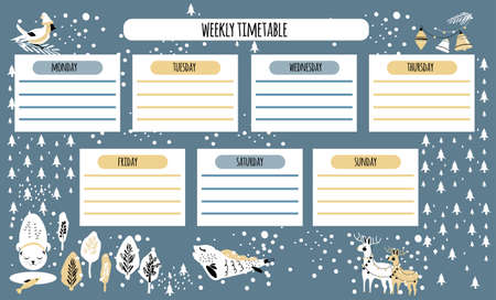 Weekly timetable, daily planner or personal schedule in scandinavian doodle style.Winter holidays theme with snowflakes.Cute hand drawn animals in coniferous forest.Christmas or New year preparing. 矢量图像