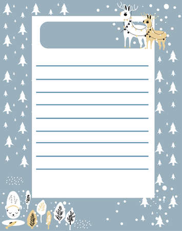 Wish or to do list.Daily planner or personal schedule in scandinavian doodle style.Winter holidays theme with snowflakes.Cute hand drawn animals in coniferous forest.Christmas or New year preparing 矢量图像
