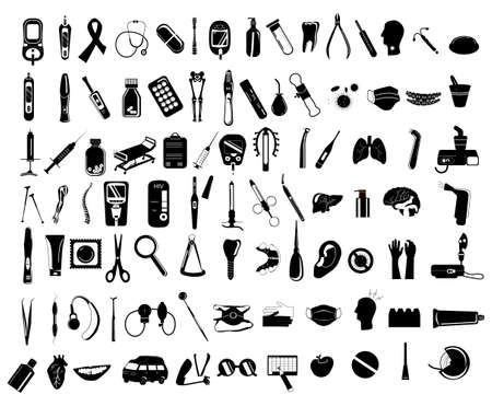 92 black and white medical icons.Dentistry service and orthodontic instruments.Gynecology and contraception.Respiratory diseases and prophylactic.Osteoporosis,bone fractures,ambulance and first aid Vector Illustration