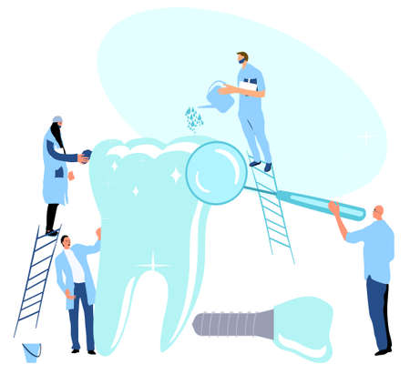 Tiny doctors examining huge molar tooth with dental mirror and cleaning it. Medical orthodontic instruments.Oral cavity disease. Dentistry service with implants.Healthy smile.Vector in flat style