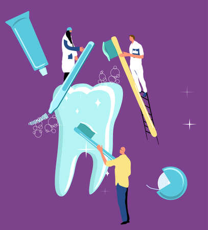 Teeth whitening concept.Dentistry service in clinic.Tiny characters brushing and cleaning huge molar with dental instruments.Oral cavity care.Routine medical procedure. Orthodontical equipment.Vector