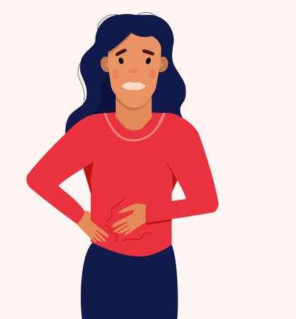 Woman suffering from abdominal bloating.A swollen state caused by retention of gas.Girl has Stomach Ache or gastritis.Constipation or diarrhea.Poor digestion.Menstrual syndrome.Intestinal poisoning.