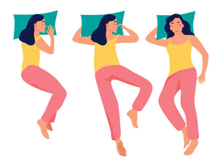 Young woman is sleeping in bed in different poses top view.Girl in pijama.Healthcare and melatonin.Set of tired female character lying in various postures during night slumber.Apathy and laziness