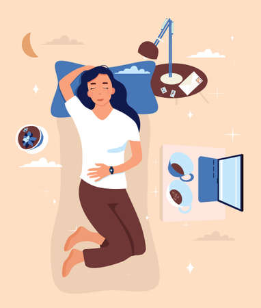 Girl is lying on the back with sleeping tracker on her hand.Bedroom interior with furniture,laptop.Weekend or vacation with movies.Device controls quality of dream or slumber during night.Melatonin 矢量图像