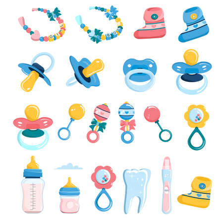 Newborn baby products set in flat Style.Milk bottle with nipple,dummy pacifier,beanbag,booties for infant kids and bracelet with beads for name.First tooth,Child birthday invitation elements.Vector