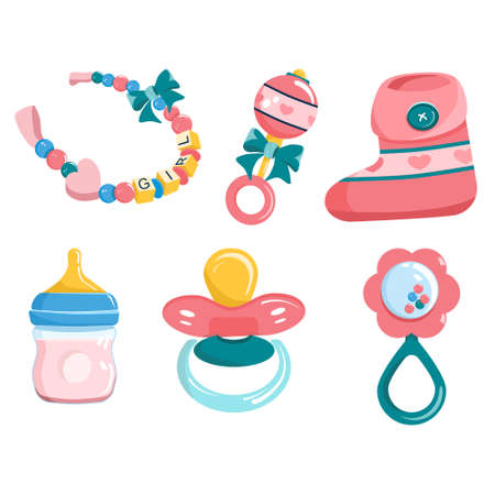 Newborn baby products and items set.its a girl.Maternity and childhood accessories.Milk bottle with nipple,dummy pacifier,toy,booties for infant kids and beaded bracelet.Birthday invitation elements 向量圖像