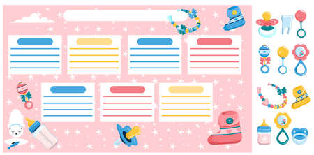 Newborn baby first steps note.Maternity and childhood accessories.Weekly timetable,daily planner or personal schedule in doodle style.Birthday stickers elements.Products and items set for infant kids.