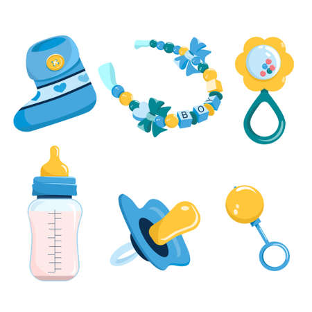 Newborn baby products and items set.its a boy.Maternity and childhood accessories.Milk bottle with nipple,dummy pacifier,toy,booties for infant kids and beaded bracelet.Birthday invitation elements 矢量图像