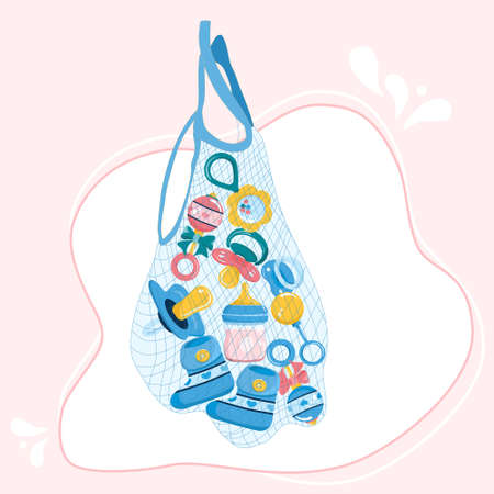 Newborn baby care products and items in string bag.Maternity and childhood accessories.Milk bottle with nipple,dummy pacifier,toy,booties for infant kids,beaded bracelet.Birthday invitation elements