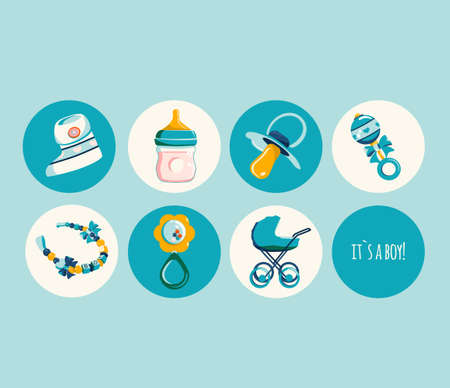 Newborn baby products for boy.Round icon set in retro flat Style.Milk bottle,dummy pacifier,pram,rattle,booties for infant kid and bracelet with beads.Child birthday invitation elements.Vector,blue