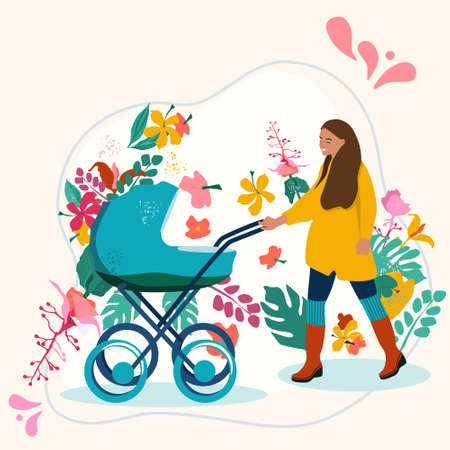 Young woman with pram.Mom walking with her infant baby.Happiness of Childhood and maternity.Stroller on floral background.Flat cartoon colorful vector illustration.Newborn Kid.Spending time outdoors 矢量图像