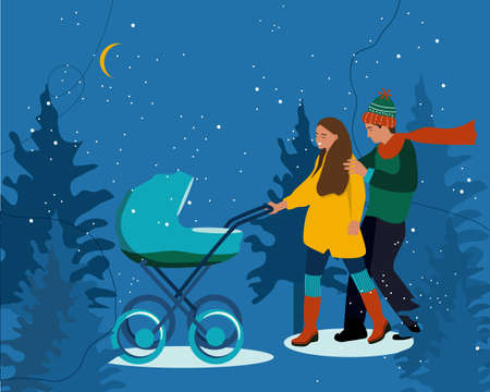 Young woman and man with stroller.Parents are walking with infant baby in winter night forest.Happiness of Childhood.Flat cartoon vector illustration.Newborn Kid.Spending time together outdoors