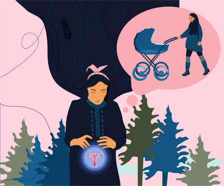 Young woman is dreaming about pregnancy and baby. Girl holding her glowing belly .Mother walking with baby carriage in bubble.Coniferous forest is around.Psychosomatics, meditation and visualization.