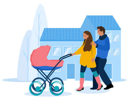 Young woman and man with stroller.Parents are walking with infant baby in city.Pram on urban background.Happiness of Childhood.Flat vector illustration.Newborn Kid.Spending time together outdoors 矢量图像