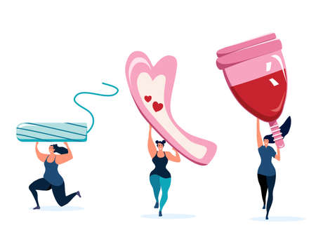 Three strong athletic girls holding big menstrual cup,tampon and sanitary pad.Comfort,protection and hygiene during periods.Body positive and women power set.Vector on white background. 矢量图像