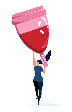 Strong athletic girl holding a big menstrual cup.Comfort and hygiene during periods.Body positive and woman power concept.Protection in critical days.Vector on white background.Zero waste.