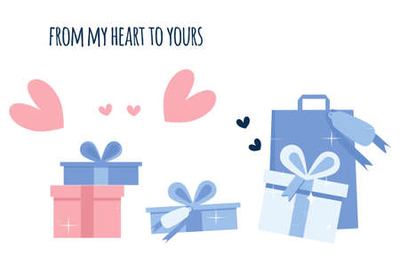 Valentine's day poster with hearts and gift boxes in blue color flat style.Postcard with winter holidays.Vector template for certificate,sale coupon,website banner.From my soul to yours.