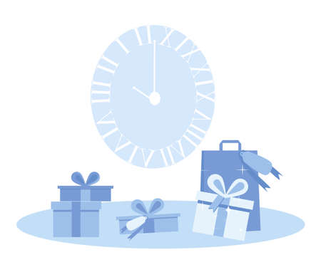 Christmas poster with clock and gift boxes in blue color flat style.Postcard with winter holidays.New year, Xmas or Noel celebration.Vector template for certificate, sale coupon, website banner.