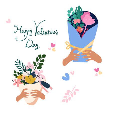 Happy Valentine`s day freehand romantic lettering.Hands hold bouquet of flowers in paper packaging with ribbon.Pastel colored branch of eucalyptus.Vector illustration with floral composition.Postcard