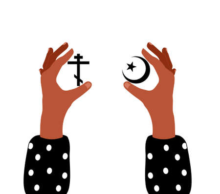 Choosing religion concept.Two hands are holding Christianity and Islam main symbols.Poster of spiritual choice. Cross and crescent with star.
