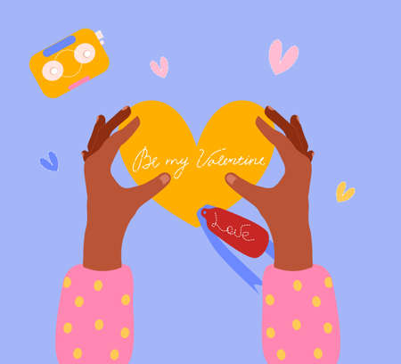 Valentine's day poster.Female hands are unpacking letter in heart shape. Be my valentine text. Retro boombox or audiotape around. Romantic relationship. Holiday celebration or dating.Bright colors