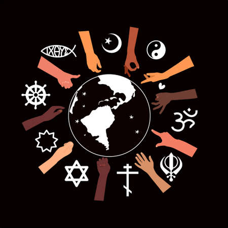 Religious Freedom day poster.Human Solidarity.Hands different ethnicities in various gestures and spiritual symbols are around Planet Earth.Our unity in diversity.Respect all. Vector.Black Background